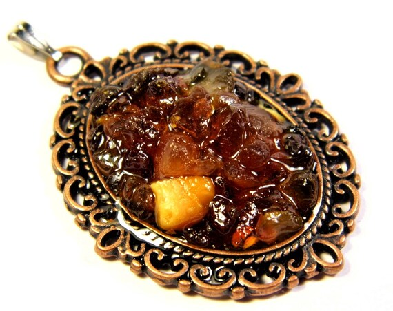 Natural genuine authentic Baltic Sea Amber stone mosaic pendant vintage retro style women's jewelry 6.2 grams FREE SHIPPING 1267