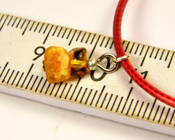 Red thread bracelet with natural genuine Baltic Amber gemstone minimalist authentic women's jewelry FREE SHIPPING 2732