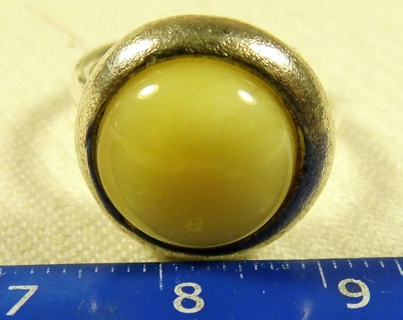 Sizable ring with natural Baltic Amber butterscotch egg yolk yellow color gemstone authentic women's unique rare jewelry FREE SHIPPING 240a