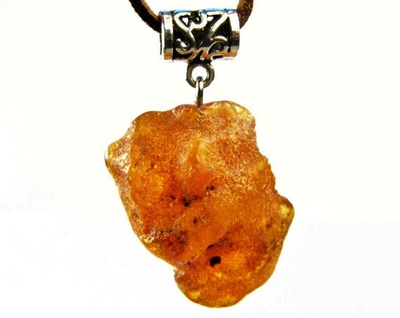 Raw unpolished genuine Baltic Amber necklace pendant natural unique stone 6.8 gram rough authentic men's women's unisex jewelry 2611