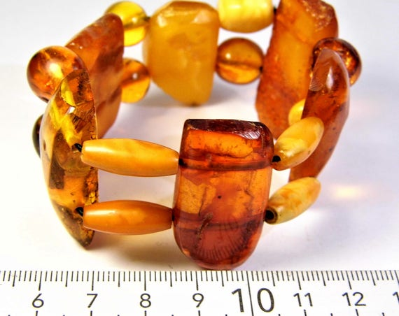 Baltic Amber gemstone Old vintage antique retro stretch bracelet natural genuine multi-color authentic unique jewelry FREE SHIPPING 1626