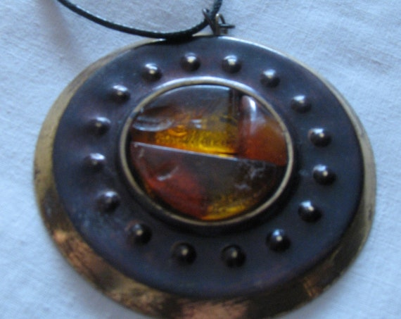 Natural genuine Baltic Amber stone and Brass pendant locket Old vintage antique retro authentic jewelry 21 grams FREE SHIPPING 1031
