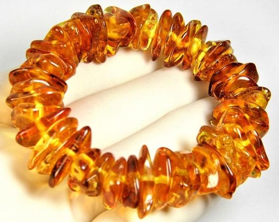 Natural genuine Baltic Amber stretchable bracelet cognac / honey / transparent 24 grams authentic unique women's jewelry 2967
