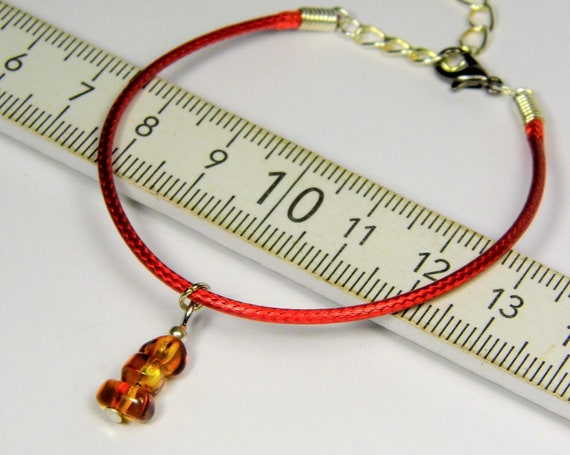 Red thread bracelet with natural genuine Baltic Amber gemstone minimalist authentic women's jewelry FREE SHIPPING 2730