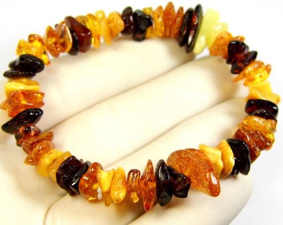 Natural genuine multicolor Baltic Amber stretchable bracelet 9.3 grams authentic unique women's jewelry 850a