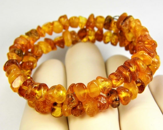 Polished natural Baltic Amber gemstones spiral bracelet genuine authentic 10 grams women's jewelry FREE SHIPPING 863a