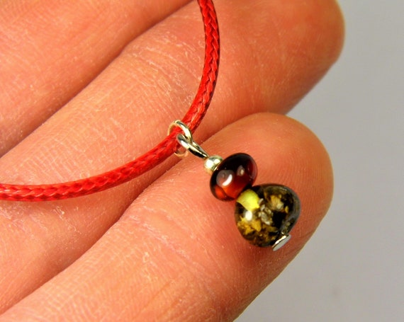 Red thread bracelet with natural genuine Baltic Amber gemstone minimalist authentic women's jewelry FREE SHIPPING 2731