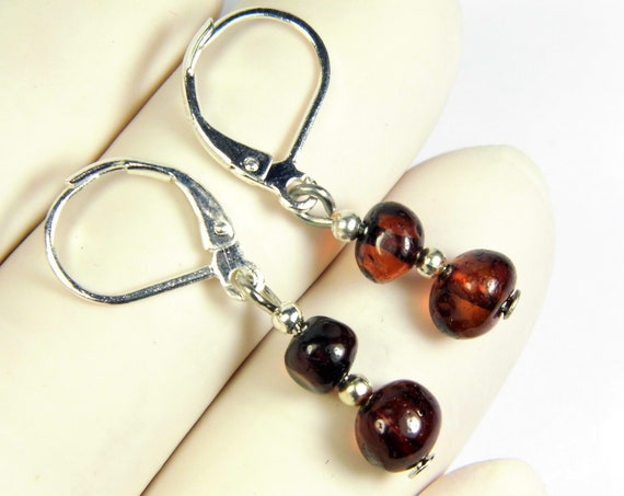 Baltic Amber earrings natural genuine real stones 1.3 grams authentic women's jewelry unique 2961