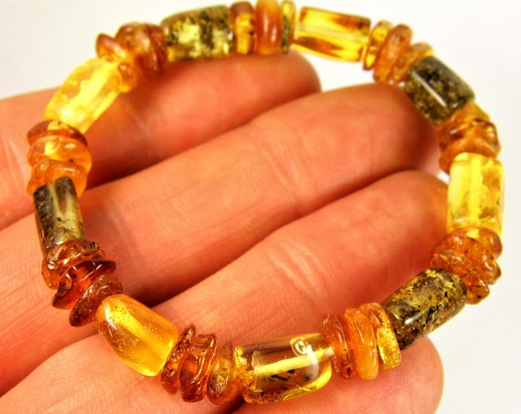 Baltic Amber stones natural genuine unique authentic men's / women's / unisex bracelet jewelry 5.8 grams / 5.5 inches FREE SHIPPING 829a