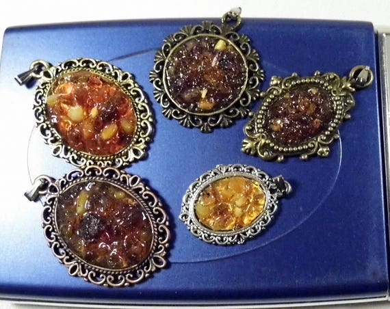 Lot of 5 natural genuine authentic Baltic Sea Amber stone mosaic pendants authentic women's jewelry 25 grams FREE SHIPPING 1409