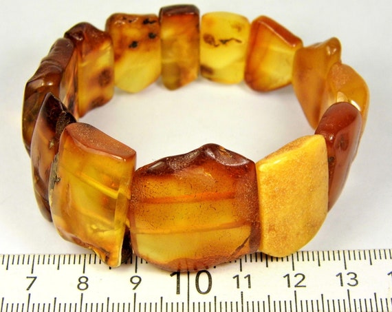 Baltic Amber stones natural genuine unique authentic women's bracelet jewelry multi-color 24 grams / 6.5 inch FREE SHIPPING 811a