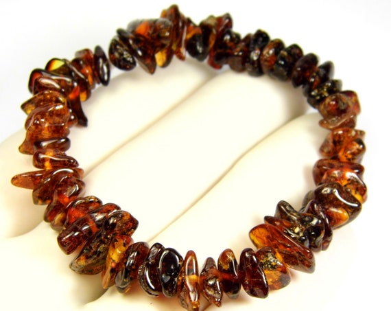 Natural genuine brown color Baltic Amber stretchable bracelet 9.1 grams authentic unique women's jewelry 860a