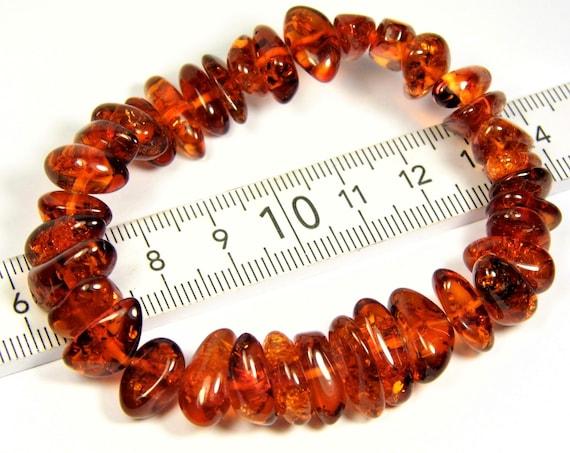 Natural genuine Baltic Amber stretchable bracelet cognac / honey / transparent 12 grams authentic unique women's jewelry 2963
