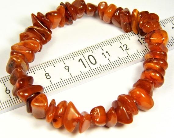 Natural genuine Baltic Amber stretchable bracelet cognac / honey / brown 13 grams authentic unique women's jewelry 2968