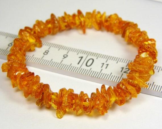 Natural genuine cognac honey brown Baltic Amber stretchable bracelet 8.5 grams authentic unique women's jewelry 853a