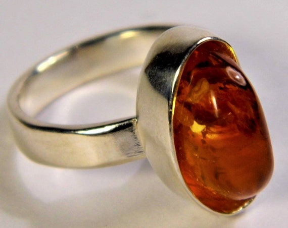 Genuine real Baltic Amber and Silver Plated ring cognac honey transparent color gemstone authentic women's jewelry FREE SHIPPING 1596