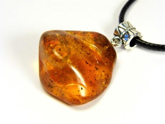 Transparent Baltic Amber stone pendant necklace 6.5 grams natural genuine men's women's unisex unique jewelry authentic 3707