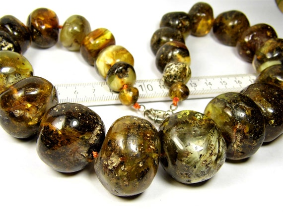 Massive Baltic Amber necklace large stones natural genuine 223 grams authentic women's unique jewelry 805a