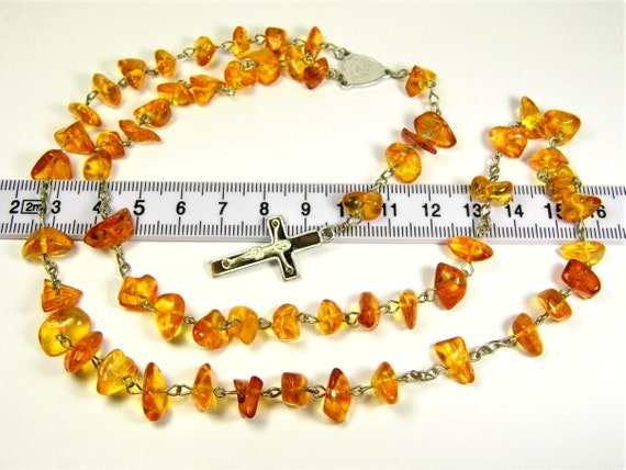 Natural genuine transparent Baltic Amber stones catholic christian rosary chaplet 18 grams authentic unique jewelry 3712