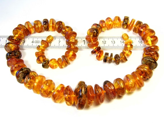 Cognac / honey / transparent Baltic Amber necklace natural genuine real gemstone 67 grams authentic women's jewelry 892a
