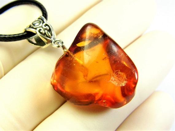 Transparent Baltic Amber stone pendant necklace 6.7 grams natural genuine men's women's unisex unique jewelry authentic 3706