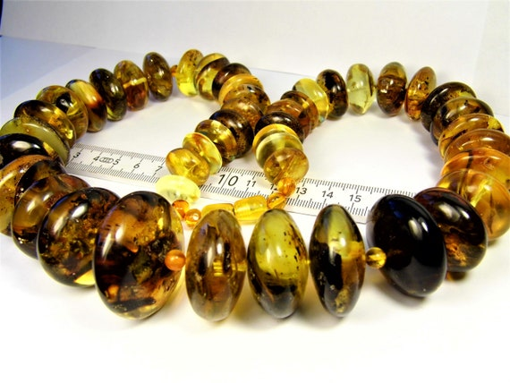 Transparent natural genuine real Baltic Amber stones handmade unique large 215 grams massive necklace authentic women's jewelry