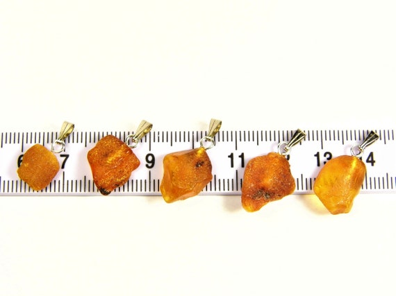 Lot of 5 Natural genuine real raw unpolished rough Baltic Amber stones pendants men's / women's / unisex authentic jewelry 3630