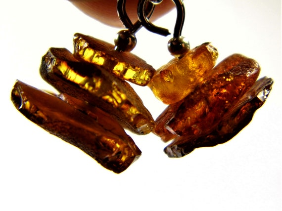 Baltic Amber raw unpolished rough natural genuine real stone earrings 2.1 grams authentic women's unique jewelry FREE SHIPPING 2659