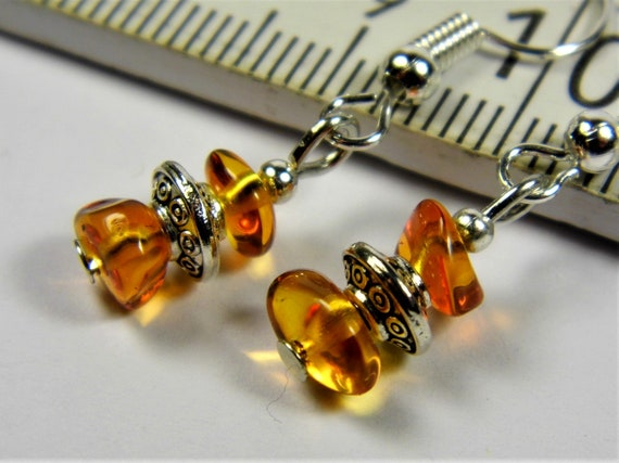 Cognac honey transparent Baltic Amber natural genuine stone earrings 1.8 grams authentic women's jewelry unique FREE SHIPPING 40z