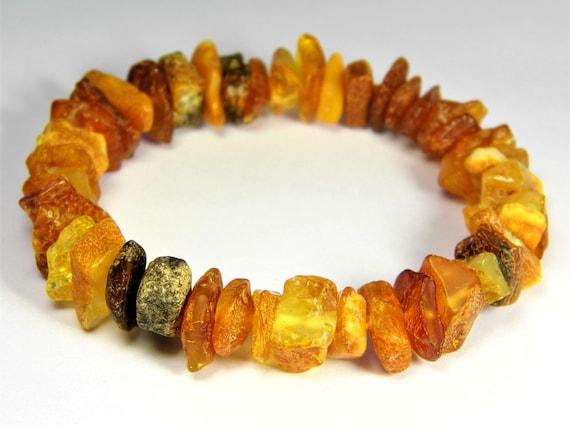 Baltic Amber bracelet natural genuine stones stretchable 14 grams men's / women's / unisex jewelry authentic unique gemstone 3691