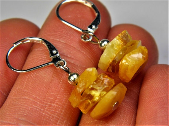 Baltic Amber raw unpolished rough natural genuine real stone earrings 2.2 grams authentic women's unique jewelry FREE SHIPPING 2559