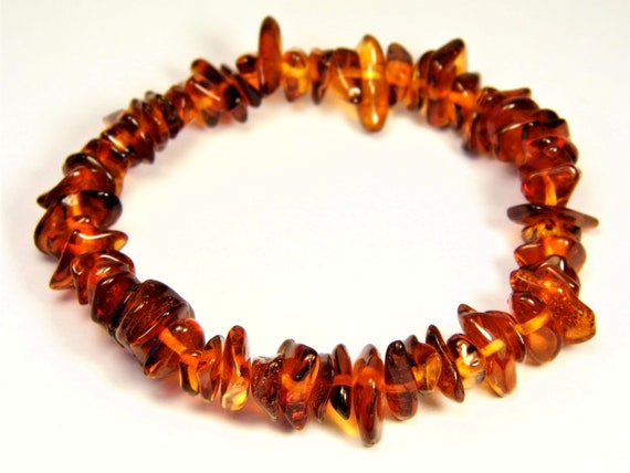Baltic Amber bracelet natural genuine brown stones stretchable 9.6gr men's / women's / unisex jewelry authentic unique gemstone 1081a