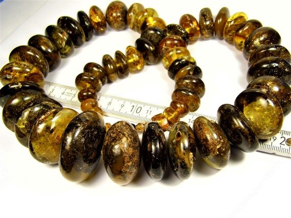Black / honey color natural genuine real Baltic Amber button shape stones handmade unique large 310 grams necklace authentic women's jewelry