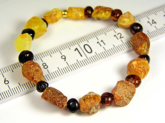 Raw rough Baltic Amber bracelet natural genuine unpolished stones 6.5 grams authentic unique women's jewelry 3012