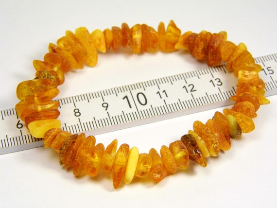 Natural genuine raw unpolished rough Baltic Amber stretchable bracelet 11 grams authentic unique women's jewelry 856a