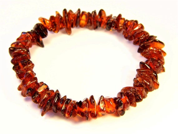 Baltic Amber bracelet natural genuine brown stones stretchable 9.1gr men's / women's / unisex jewelry authentic unique gemstone 1078a