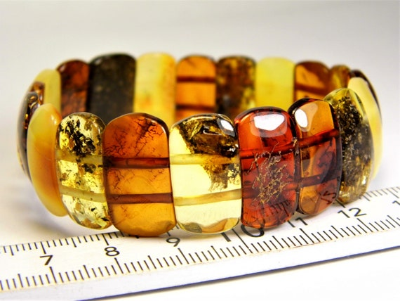 Baltic Amber natural genuine stone bracelet transparent 12 grams multicolor authentic unique women's jewelry 3487