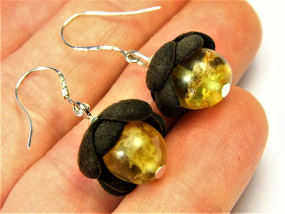 Natural genuine authentic real Baltic Amber gemstone and Leather handmade earrings authentic women's unique jewelry FREE SHIPPING 2664