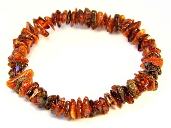 Baltic Amber bracelet natural genuine brown stones stretchable 9.2gr men's / women's / unisex jewelry authentic unique gemstone 1074a