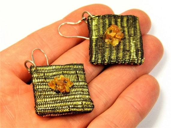 Natural genuine authentic real Baltic Amber gemstone and Textile handmade earrings authentic women's unique jewelry FREE SHIPPING 93z