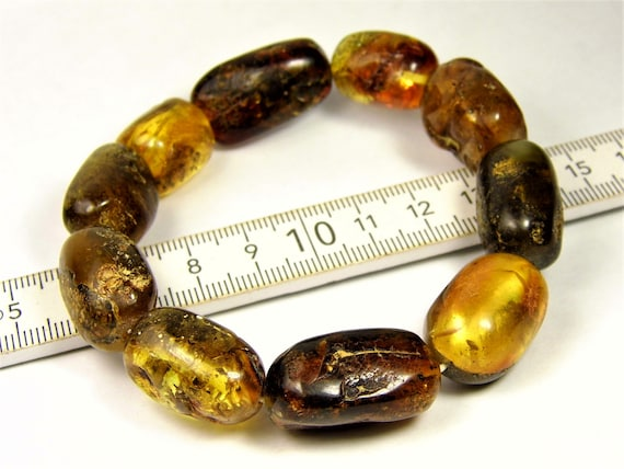 Baltic Amber stones natural genuine unique authentic women's bracelet jewelry multi-color 30 grams / 7 inches FREE SHIPPING 814a