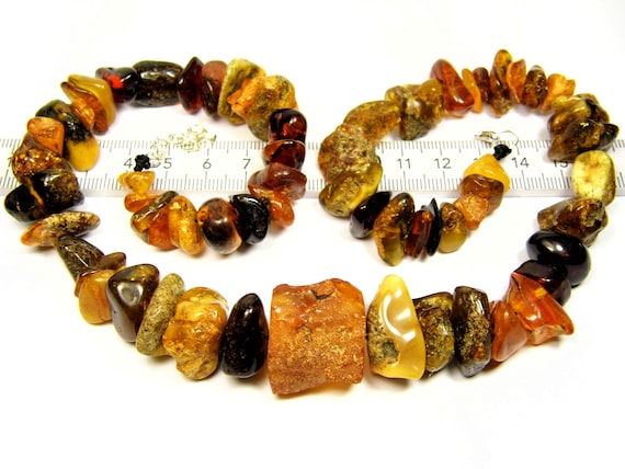 Multicolor natural genuine real Baltic Amber gemstone necklace authentic 58 grams women's jewelry 3086