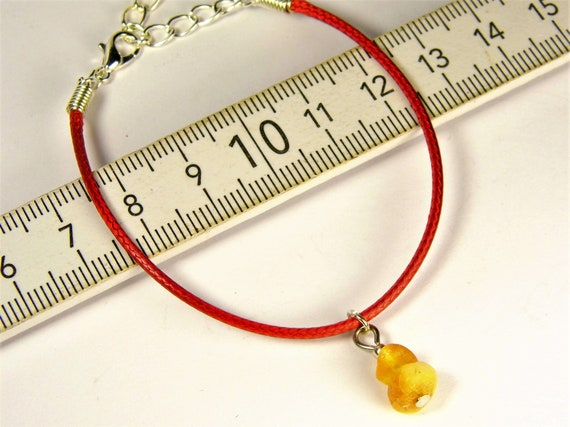 Red thread bracelet with natural genuine Baltic Amber gemstone minimalist authentic women's jewelry FREE SHIPPING 2737