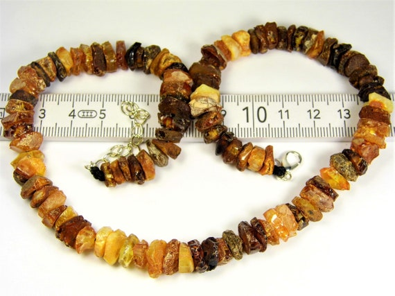 Raw Baltic Amber necklace unpolished rough stones natural genuine authentic 22 grams men's / women's / unisex jewelry FREE SHIPPING 3036