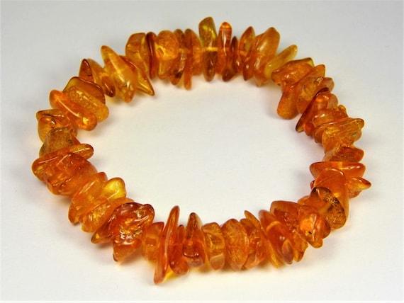 Baltic Amber bracelet natural genuine brown stones stretchable 11gr men's / women's / unisex jewelry authentic unique gemstone 1085a