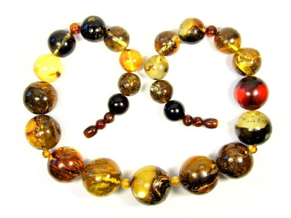 Multicolor natural genuine real Baltic Amber stones handmade unique 95 grams necklace authentic women's jewelry