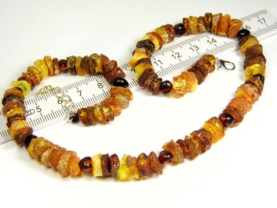 Raw Baltic Amber necklace unpolished rough stones natural genuine authentic 18 grams men's / women's / unisex jewelry FREE SHIPPING 3037