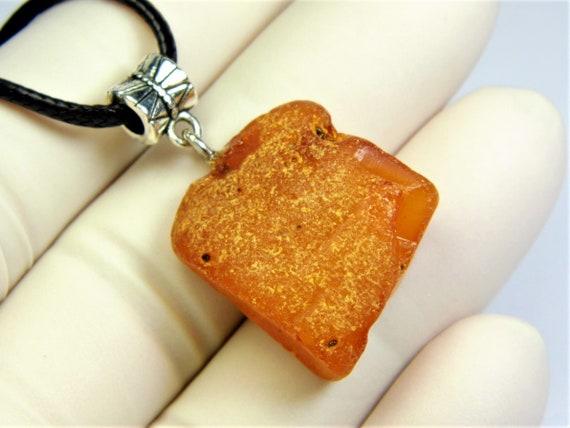 Raw Baltic Amber stone pendant necklace 6.1 grams natural genuine men's women's unisex unique jewelry authentic 3705