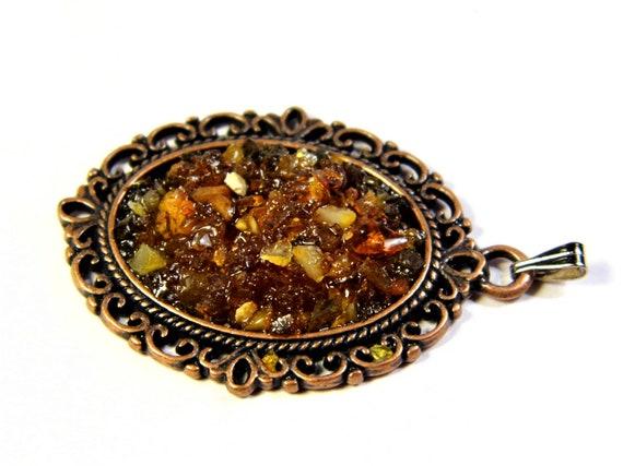 Natural genuine authentic real honey / cognac Baltic Sea Amber stone mosaic pendant authentic vintage retro style women's jewelry 1273