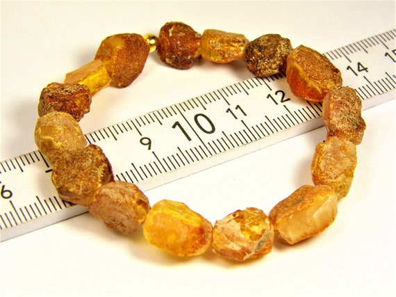Raw rough Baltic Amber bracelet natural genuine unpolished stones 7.1 grams authentic unique women's jewelry 3011